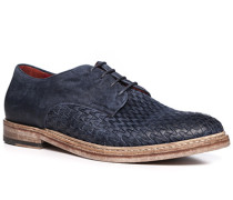 Schuhe Derby, Veloursleder, azzurro