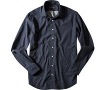 Hemd, Popeline, navy-weiß gemustert