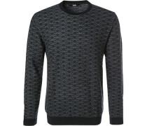 Pullover, Wolle, dunkelgrau gemustert