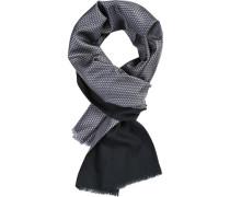 Schal, Wolle-Seide, graublau gemustert