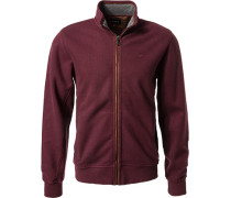 Zip-Cardigan, Baumwolle, bordeaux