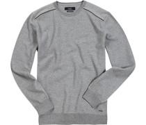 Pullover, Baumwolle, hellgrau meliert