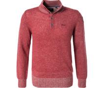 Pullover Pulli, Wolle, erdbeerrot meliert