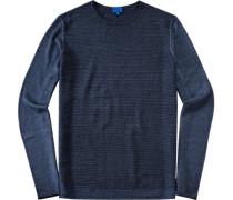 Pullover, Schurwolle, dunkelblau meliert