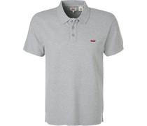Polo-Hemd, Baumwoll-Piqué, hellgrau meliert