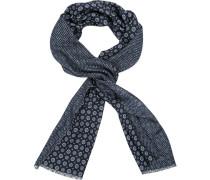 Schal, Wolle, navy gemustert