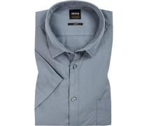 Kurzarm-Hemd, Slim Fit, Popeline, rauchblau