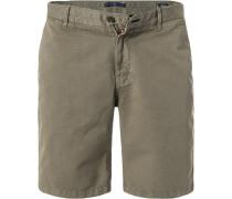 Hose Shorts, Modern Fit, Leinen, khaki