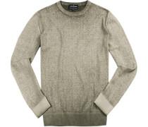Pullover, Baumwolle, khaki meliert