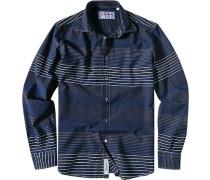 Hemd, Slim Cut, Baumwolle, marineblau