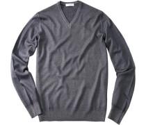 Pullover, Schurwolle, graublau meliert