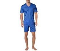 Schlafanzug Pyjama, Baumwolle, royalblau