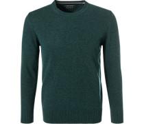 Pullover, Lammwolle, dunkelgrün meliert