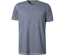 T-Shirt, Baumwolle, navy gestreift