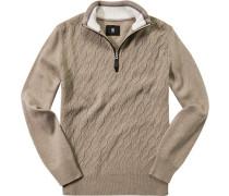 Pullover Troyer, Schurwolle, natur