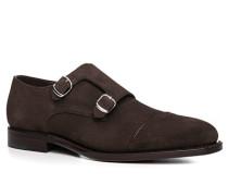 Schuhe Monk, Veloursleder, dunkelbraun