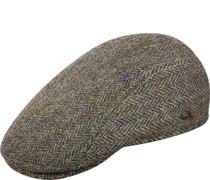 Mütze, Schurwolle, grünbraun gemustert