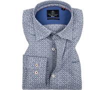 Hemd, Popeline, weiß-blau gemustert