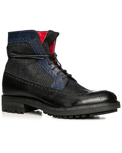 rosso e nero Herren Schuhe Schnürstiefeletten, Leder-Textil