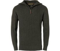 Pullover Troyer, Baumwolle, stahlgrau