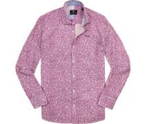 Hemd, Popeline, violett gemustert