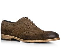 Schuhe Oxford, Veloursleder, caffe
