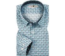 Hemd, Popeline, hellblau-rot-grün gemustert