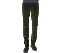 Hose, Regular Fit, Cord, dunkelgrün