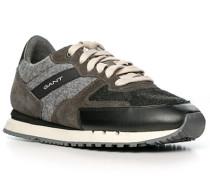 Schuhe Sneaker, Leder-Textil, braun-