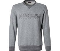Pullover Sweater, Baumwolle, hellgrau