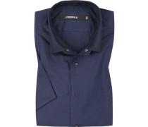 Kurzarmhemd, Slim Fit, Popeline, marineblau