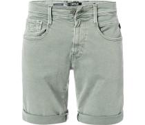 Jeansshorts, Baumwoll-Stretch, graugrün