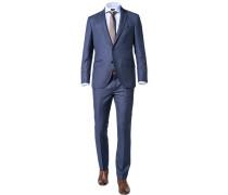 Anzug, Slim Fit, Wolle, stahlblau meliert