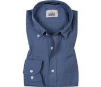 Hemd, Regular Fit, Baumwolle, stahlblau