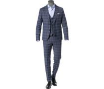 Anzug mit Weste, Super Slim, Schurwoll-Stretch