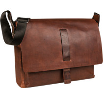 Tasche Messenger-Bag, Leder, cognac