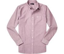 Hemd, Oxford, bordeaux meliert