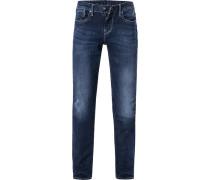 Blue-Jeans, Slim Fit, Baumwolle, dunkelblau