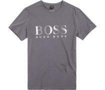 T-Shirt, Regular Fit, Baumwolle, dunkelgrau