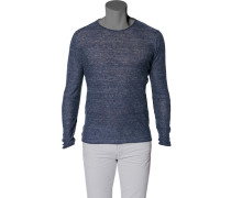 Pullover, Leinen, dunkelblau meliert