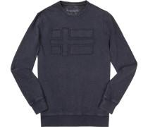Sweatshirt, Baumwolle, dunkelblau meliert