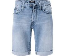 Jeansshorts, Baumwoll-Stretch, hellblau