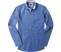 Hemd, Slim Fit, Chambray, azurblau meliert