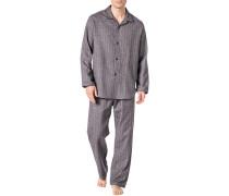 Schlafanzug Pyjama, Flanell, meliert
