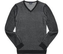 Pullover, Baumwolle, -grau gemustert