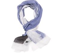 Schal, Leinen, jeansblau-weiß