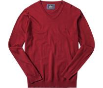 Pullover, Baumwolle-Seide, rubinrot meliert