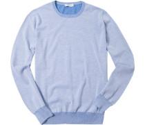 Pullover, Baumwolle, hellblau meliert