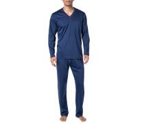 Schlafanzug Pyjama, Baumwolle, marineblau