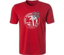 T-Shirt, Modern Fit, Baumwolle, erdbeerrot